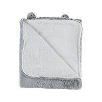 Couverture 75 x 100 cm gris clair fausse fourrure