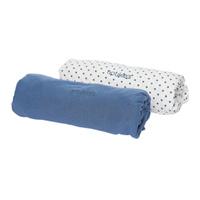 Lot de 2 draps housse 60 x 120 cm bleu céleste