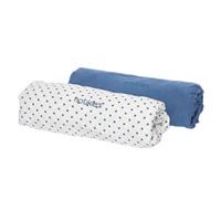Lot 2 draps housse 70 x 140 cm bleu céleste