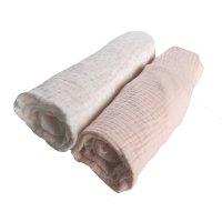 Lot de 2 draps housse 70 x 140 cm mousseline bio rose
