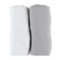 Lot de 2 draps housse 60 x 120 cm mousseline bio gris