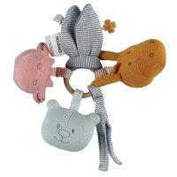 Jouet d'éveil bébé trousseau d'activités coton bio multicolore