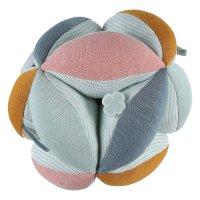 Jouet d'éveil bébé balle de préhension coton bio multicolore