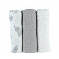Lot de 3 langes 70 x 70 cm mousseline bio gris