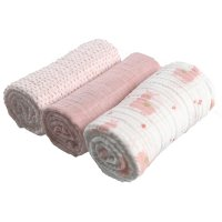 Lot de 3 langes mousseline bio 70x70cm rose