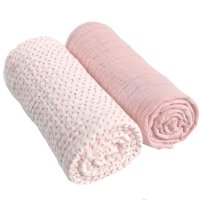 Lot de 2 langes mousseline bio 100x100cm rose