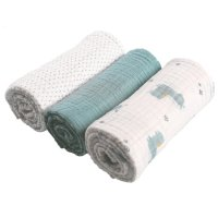 Lot de 3 langes mousseline bio 70x70cm aqua