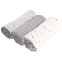 Lot de 3 langes mousseline bio 70x70cm gris