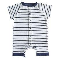 Combishort en jersey coton bio rayé blanc et bleu