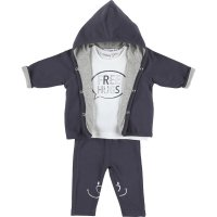 Ensemble mantelet réversible , tee-shirt et legging gris en coton bio