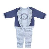 Ensemble cardigan , tee-shirt et legging bleu en coton bio