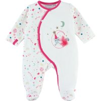Pyjama dors bien velours imagine blanc et rose