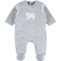 Pyjama dors bien velours winterland gris brodé ours
