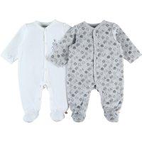 Lot de 2 pyjama dors bien velours plume set blanc /gris