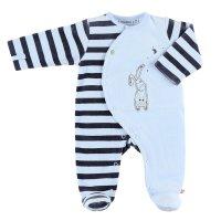 Pyjama dors bien velours smart boy rayé bleu clair