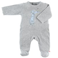 Pyjama dors bien velours smart boy gris clair