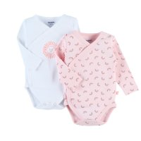 Lot de 2 bodies manches longues rose en coton 100% bio