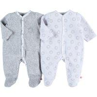 Lot de 2 pyjamas dors bien velours plume blanc / gris