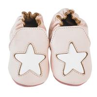 Chaussons bébé en cuir étoile cocon rose