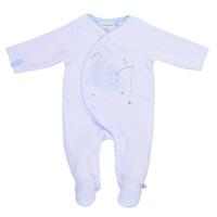 Pyjama dors bien velours blanc / bleu cocon