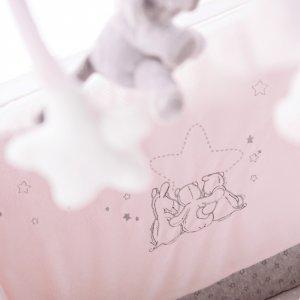 Noukies Tour de lit veloudoux poudre d'étoiles rose