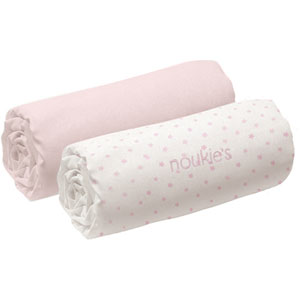 Noukies Lot de 2 draps housse 60 x 120 cm rose cocon