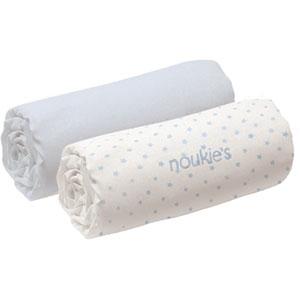 Noukies Lot de 2 draps housse 60 x 120 cm bleu cocon