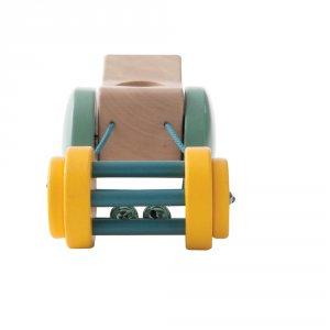 Noukies Jouet d'éveil bébé en bois tracteur à tirer paco potager