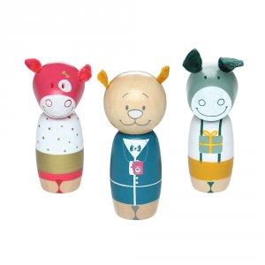Jouet d'éveil bébé set 3 personnages anniversaire en bois