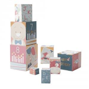 Noukies Jouet d'éveil bébé cubes à empiler anniversaire