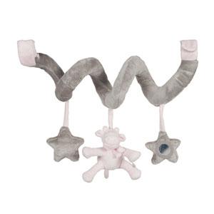 Noukies Jouet de lit bébé spirale d'activités poudre d'étoiles rose
