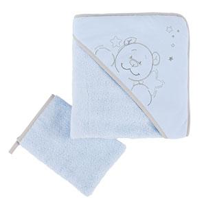 Sortie de bain bébé poudre d'étoiles bleu
