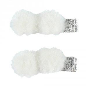 Accessoire pour cheveux 2 pinces pompons gris
