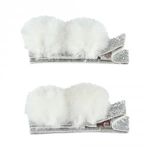 Noukies Accessoire pour cheveux 2 pinces pompons gris