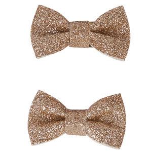 Accessoire pour cheveux 2 noeuds glitter or
