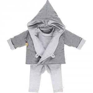 Ensemble bébé 3 pièces cocon veste mantelet gris