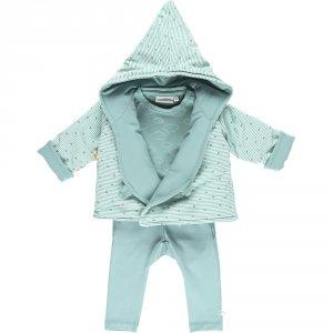Ensemble bébé 3 pièces cocon veste mantelet aqua