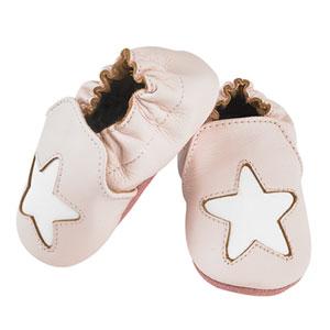 Noukies Chaussons bébé en cuir étoile cocon rose
