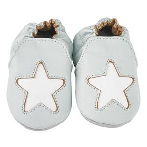 Noukies Chaussons bébé en cuir étoile cocon ciel