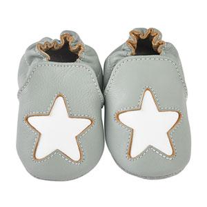 Chaussons bébé en cuir étoile cocon gris