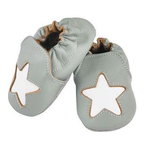 Noukies Chaussons bébé en cuir étoile cocon gris