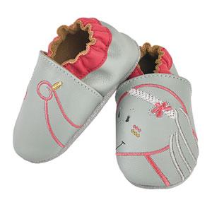 Noukies Chaussons bébé en cuir anna gris