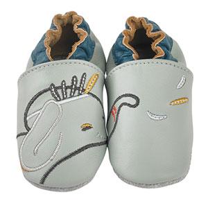 Chaussons bébé en cuir bao gris