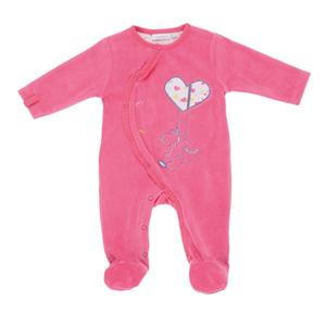 Pyjama bébé velours peps girl rose néon