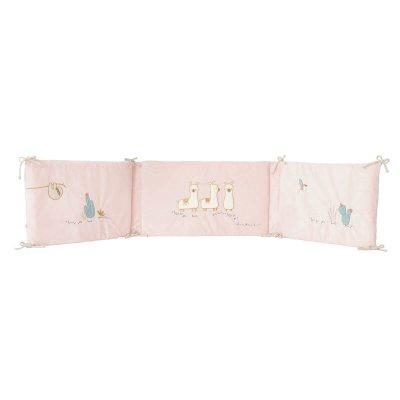 Tour de lit veloudoux rose moris et sacha Noukies