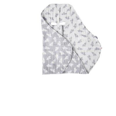 Couverture promenade gris clair en mousseline bio Noukies