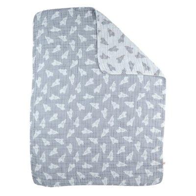 Couverture 75 x 100 cm mousseline bio gris Noukies