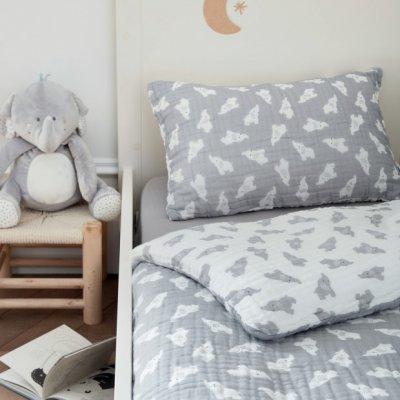 Housse de couette 100 x 140 cm gris clair bio Noukies