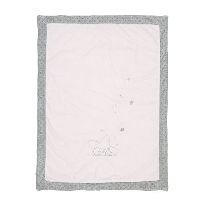 Couverture veloudoux 75 x 100 cm poudre d'étoiles rose Noukies