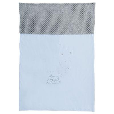Couverture veloudoux 100x140cm poudre d'étoiles bleu Noukies